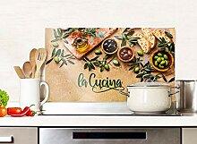 GRAZDesign Spritzschutz Küche Glas Spruch La