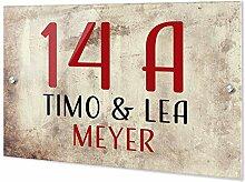 GRAZDesign Türschild Name Hausnummernschild mit