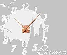 GRAZDesign Wandaufkleber Uhr Skyline Bremen -