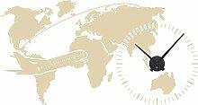 GRAZDesign Wandaufkleber Uhr Weltkarte - Wanduhr