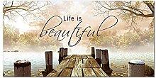 GRAZDesign Wandbild mit Spruch Life ist Beautiful,