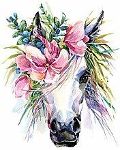 GRAZDesign Wandtattoo Aquarell Einhorn mit Blumen