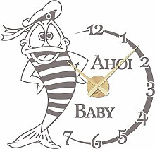 GRAZDesign Wanduhr Aufkleber Matrose Fisch - Uhren