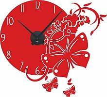 GRAZDesign Wanduhr Aufkleber Schmetterling - Uhren