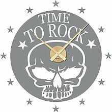 GRAZDesign Wanduhr groß Aufkleber Geschenk Rocker