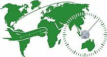 GRAZDesign Wanduhr Weltuhr - Wandaufkleber Uhr