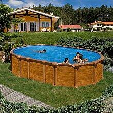 Gre kitprov6188wo–Pool oval System Omega Dekoration Holz Maße: 610x 375h 132