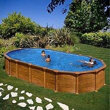 Gre kitprov7388wo–Pool oval System Omega Dekoration Holz Maße: 730x 375h 132