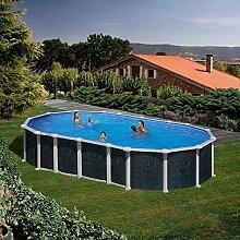 Gre M292305–Pool, oval, aus Stahl, Rattan-Optik, Java kit730nr