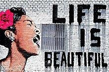great-art Fototapete Banksy Art Life is Beautiful