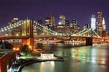 GREAT ART Fototapete Brooklyn Bridge bei Nacht New