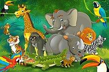 GREAT ART Fototapete Comic Dschungel Tiere 336 x