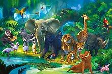 GREAT ART Fototapete Dschungel Tiere 210 x 140 cm