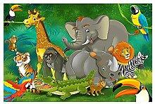 great-art Fototapete Dschungel Tiere 336 x 238 cm