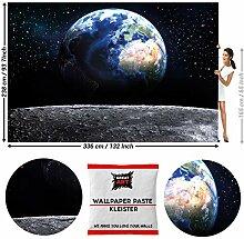 GREAT ART Fototapete Erde vom Mond 336 x 238 cm -