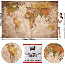 GREAT ART Fototapete Vintage Weltkarte 336 x 238