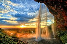 GREAT ART Fototapete Wasserfall bei