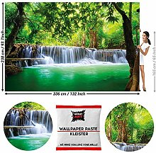 GREAT ART Fototapete Wasserfall im Wald 336 x 238