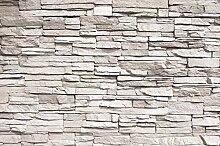 GREAT ART Fototapete Weiß Steinwand Steinmauer