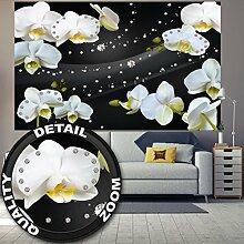 great-art Fototapete Weiße Orchidee mit Diamanten