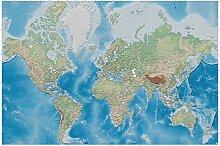GREAT ART Fototapete Weltkarte blauer Kontinent