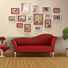 Great St. DGF Wanduhr Fotowand Wohnzimmer Schlafzimmer Solide geschnitzte Wand 15 Rahmen Bilderrahmen Kombination (Farbe : 5#)