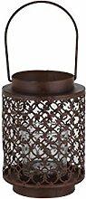 greemotion 124209 Laterne, Kerzenhalter Metall mit Glaseinsatz und Griff zum Tragen oder Aufhängen, 12.5 x 12.5 x 18.5 cm, kupferfarben