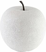 greemotion 130490 Dekoapfel, außen Obst Dekoration, Wetterfeste Gartendeko Früchte, Garten/Terrasse, Groß, Weiß, 25 x 25 x 28,5 cm