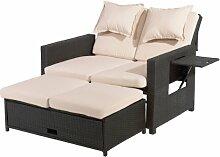 greemotion 3-in-1 Rattan-Gartensofa Bahia in Braun Bicolor, 2-Sitzer Lounge-Bett, Rückenlehne 6-fach verstellbar, witterungsbeständiges Sofa mit zwei Ablagetabletts inkl. Auflagen in Sandfarben
