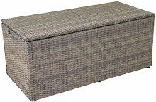 greemotion Auflagenbox - Gartenbox Grau Bicolor - Rattan Kissenbox - Gartentruhe für Kissen und Auflagen - Outdoor-Truhe für Garten & Terrasse mit Sitzgelegenhei