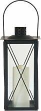 greemotion Farol Laterne mit LED Kerze inklusive, Kerze aus echtem Wachs, formschöne Metalllaterne, Leuchte für den Innen- und Außenbereich geeignet, Kerze mit flackernder Flamme, benötigt 3 x AAA Batterien, stabil, klassisch, ungefährlich, ca. 17 x 17 x 35,5 cm