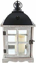 greemotion Holz-Laterne inklusive LED-Kerze, graue