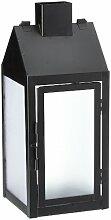 Greemotion Laterne mit LED-Lichterkette, 13x13x32cm aus Metall, Schwarz, 14x14x32,5cm