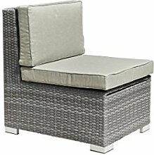 greemotion Loungesessel Malibu grau bicolor, Sessel aus Aluminumgestell ummantelt mit Polyethylengeflecht, Outdoorsessel mit Stauraum, inklusive Kissen, witterungsbeständig und pflegeleich