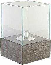 greemotion Öllampe für Draußen mit Glasschirm-Garten Öl Lampe Betonoptik-Outdoor Petroleumlampe mit Glas & Docht-Tisch Leuchte Modern, Stein, grau, 20 x 20 x 30 cm