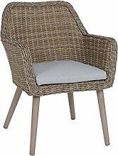 greemotion Sessel Mallorca braun, inkl. Auflage in Grau, robuster Polyrattan-Sessel, Gartenstuhl mit hochwertigem Aluminumgestell, Halbrundgeflecht aus Polyethylen, witterungsbeständig