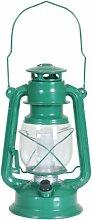 Greemotion Sturmlaterne mit LED Licht, Grün H28cm aus Metall, Grün