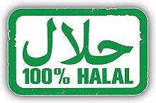Green 100 Percent Halal Arabic Stamp -