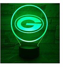 Green Bay Packers Nachtlampe Schlafzimmer Usb Rgb