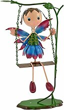 Green Jem Fairy auf Schaukel Metall Garten Dekoration, Blau/Violett, 24x 19x 42,5cm