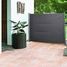 Greenbay 160cm Garten Jalousien Terrasse Seitenmarkise Sonnenschutz Balkon Bildschirm ausziehbar anthrazi