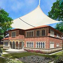Greenbay Creme Sonnensegel Sonnenschutz Segel für Balkon Terrasse Camping Garten   UV-Schutz PES Polyester   Quadrat 3x3m