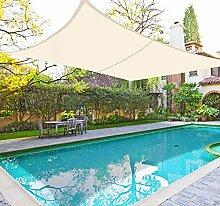 Greenbay UV Sun Segel Garten Terrasse Hof Party Sonnenschutz Bespannung 98% UV-Block Rechteck CREME 5x 4m