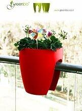 GREENBO Blumenkasten ROT aus Kunststoff -