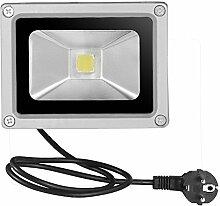 Greencolourful LED Fluter Floodlight Strahler Licht mit Stecker AC 85-265V IP65 Wasserdicht Scheinwerfer Außenstrahler Wandstrahler, 10W Weiß