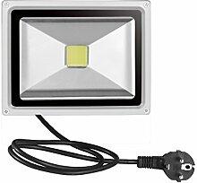 Greencolourful LED Fluter Floodlight Strahler Licht mit Stecker AC 85-265V IP65 Wasserdicht Scheinwerfer Außenstrahler Wandstrahler, 20W Weiß