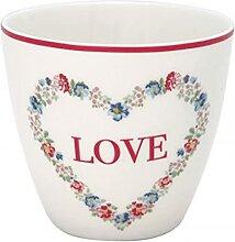 Greengate Becher Latte Cup Heart love white -