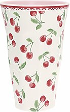 GreenGate Melamin Becher groß XL Cherry White