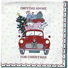 GreenGate Napkin Christmas Car red small 20pcs