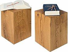 GREENHAUS Natürlich wohnen GreenHaus Holzblock Hocker aus deutscher Eiche Massivholz, in Handarbeit gefertigt, natürlicher Holzklotz und rustikaler Eichenblock, Höhe 45 cm